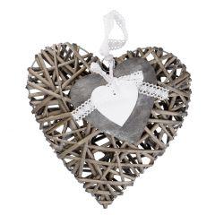 Hänger Herz mit Schleife, grau, 30 cm
