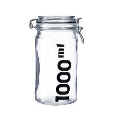 Vorratsglas mit Bügelverschluss, klar/schwarz, 1 L