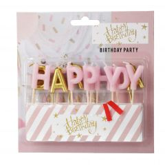 Tortenkerzen Birthday, rosa/gold, 13er