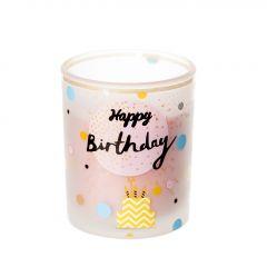 Kerze im Glas, Birthday, pastellrosa