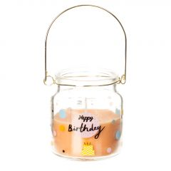 Kerze im Glas, Happy Birthday, orange