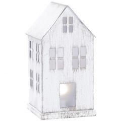 LED-Haus Metall, weiß-antik, 11.5 cm