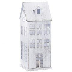 LED-Haus Metall, weiß-antik, 21 cm