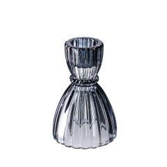 Glas-Leuchter, grau, 9 cm