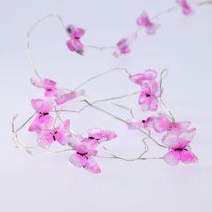 LED-Lichterkette Schmetterling, pink, 15 LED's