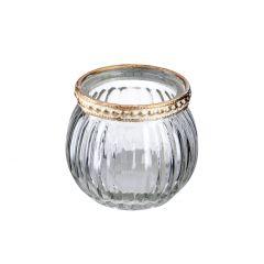Windlicht Saira, Metallrand, klar/Streifen, 5 cm