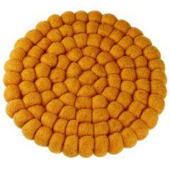 Untersetzer Filzkugeln, gelb, 20 cm