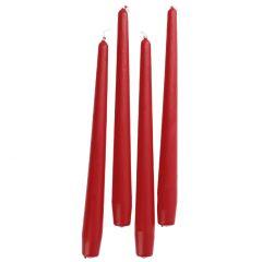 4er Set Stabkerze, spitz, rot, 25 cm