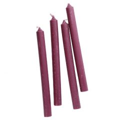 4er Set Stabkerze Rustik, lila, 25 cm