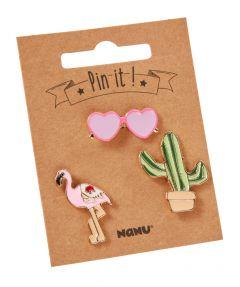 3er Set Pins, Kaktus/Flamingo