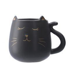 Becher Lilly, Katze, schwarz matt, 350 ml