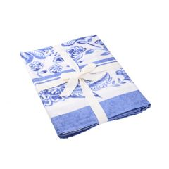 Tischdecke Mina, blau/weiß, 150 x 300 cm