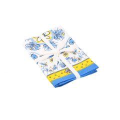 2er Set Stoffserviette Mina, blau/gelb