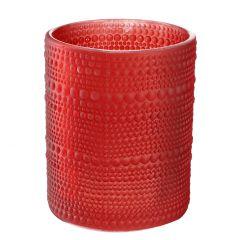 Windlicht Relief, Punkte,rot matt , 12 cm