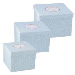 3er Set Geschenkkarton Vielen Dank, mint/weiße Punkte