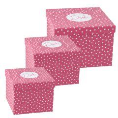 3er Set Geschenkkarton Vielen Dank, rosa/weiße Punkte