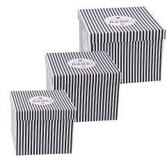 3er Set Geschenkkarton Vielen Dank, schwarz/weiße Streifen