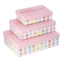 3er Set Geschenkkarton Motiv/Kordel, rosa