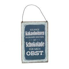 Schild Spruch, Kakaobohnen, blau, 15 x 20 cm