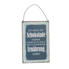 Schild Spruch, Ernährung, blau, 15 x 20 cm