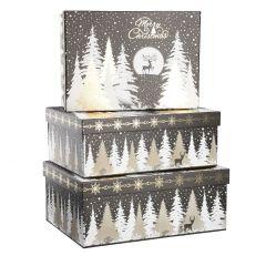 3er Set Geschenkkarton, Glitter, schwarz/gold