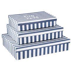 3er Set Karton Streifen, Für dich, blau-weiß