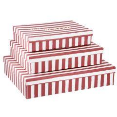 3er Set Karton Streifen, von Herzen, rosa-weiß