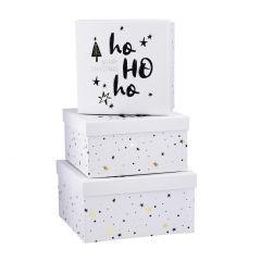 3er Set Geschenkkarton Xmas mit Spruch, Hohoho