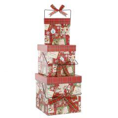 3er Set Geschenkkarton Henkel, Design, rot