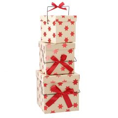 3er Set Geschenkkarton Henkel, Sterne/rot