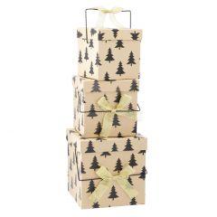 3er Set Geschenkkarton Henkel, Bäume/schwarz