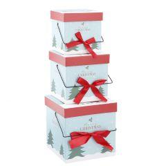 3er Set Geschenkkarton Henkel, Engel/hellblau