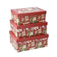 3er Set Geschenkkarton, Glitter, rot