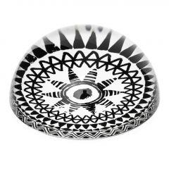 Briefbeschwerer Mandala, schwarz/weiß, 8 cm