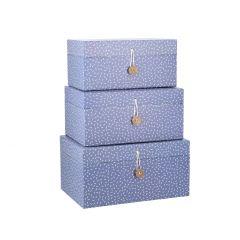 3er Set Karton, Emil, dunkelblau