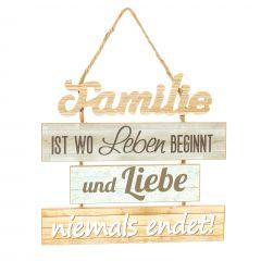 Hänger Familie, grau/braun, 30 cm