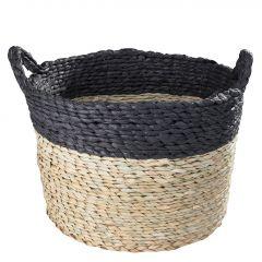 Korb mit Henkel, rund, schwarz, 44 x 30 x 44 cm