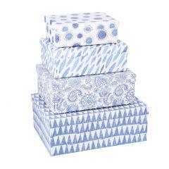 4er Set Karton Aqua, blau/weiß