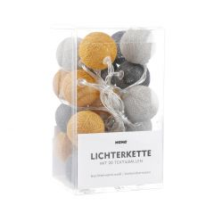Lichterkette Textilball, dunkelgrau/gelb/hellgrau, 20 LED's