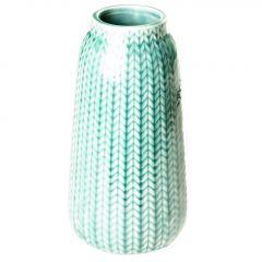 Vase Strick, hoch, blau, 13 cm
