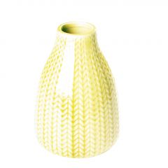 Vase Strick, bauchig, hellgrün, 13 cm