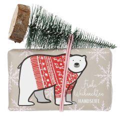 Seife mit Deko, Weihnachten, Eisbär, 150 g