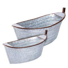 2er Set Pflanzentopf Boot, grau/rost, 38 cm