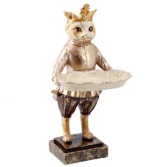 Tier mit Tablett Antik, Katze, 30 cm