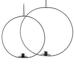 2er Set Kerzenhalter Ring, hängend, schwarz