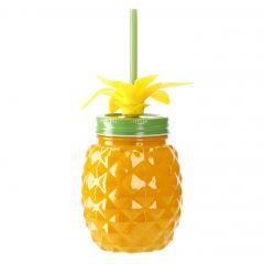 Schraubglas Ananas, gelb/grün, 500 ml