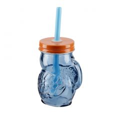 Mini-Schraubglas, Tucan, blau/orange, 100 ml