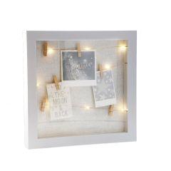 Bilderrahmen LED mit Klammern, weiß glitter, 31 x 31 cm