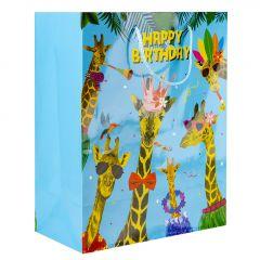 Geschenktüte Funny, Giraffe, blau