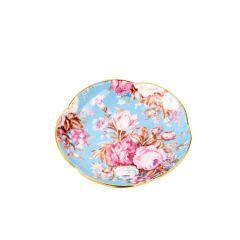 Teller China, Flower, mint/Goldrand, 11 cm